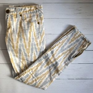 Free People Blue and Gold Brushed White Jeans